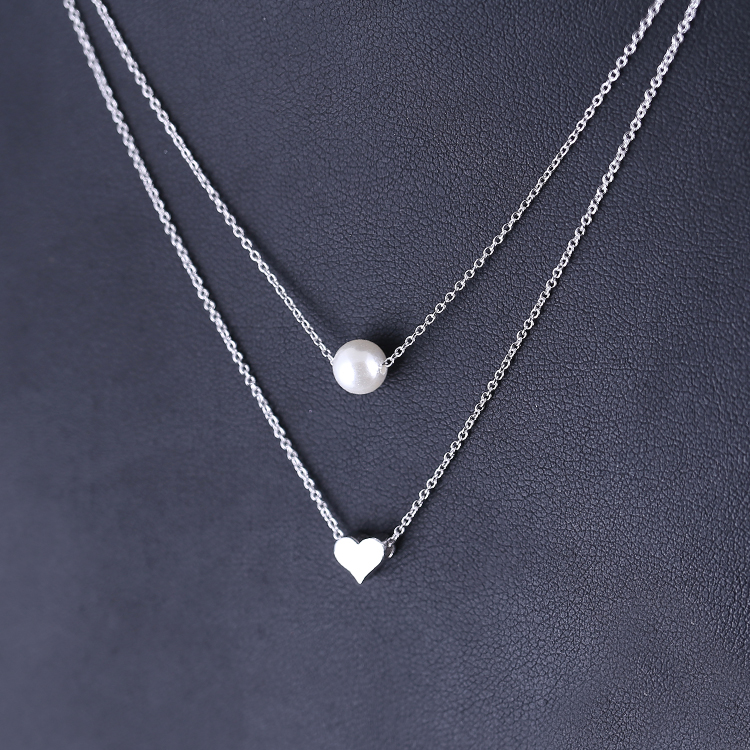 925 Sterling Silver heart Double Necklaces Pendants For Women High Quality Sterling silver jewelry in Pendant Necklaces from Jewelry Accessories