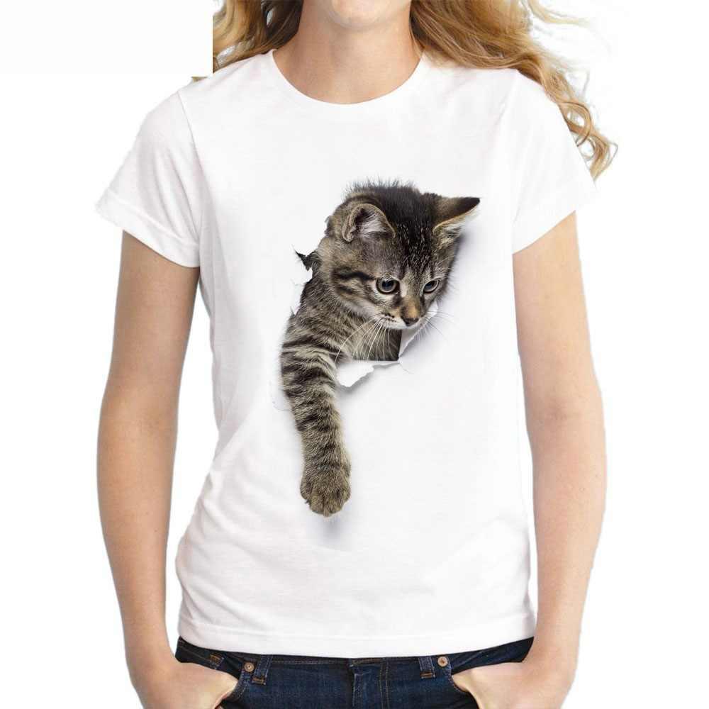 Футболка с 3D принтом кота из мультфильма, женская Свободная белая футболка с коротким рукавом и О-образным вырезом, 2019 Летняя женская футболка, топы, Camisetas Mujer