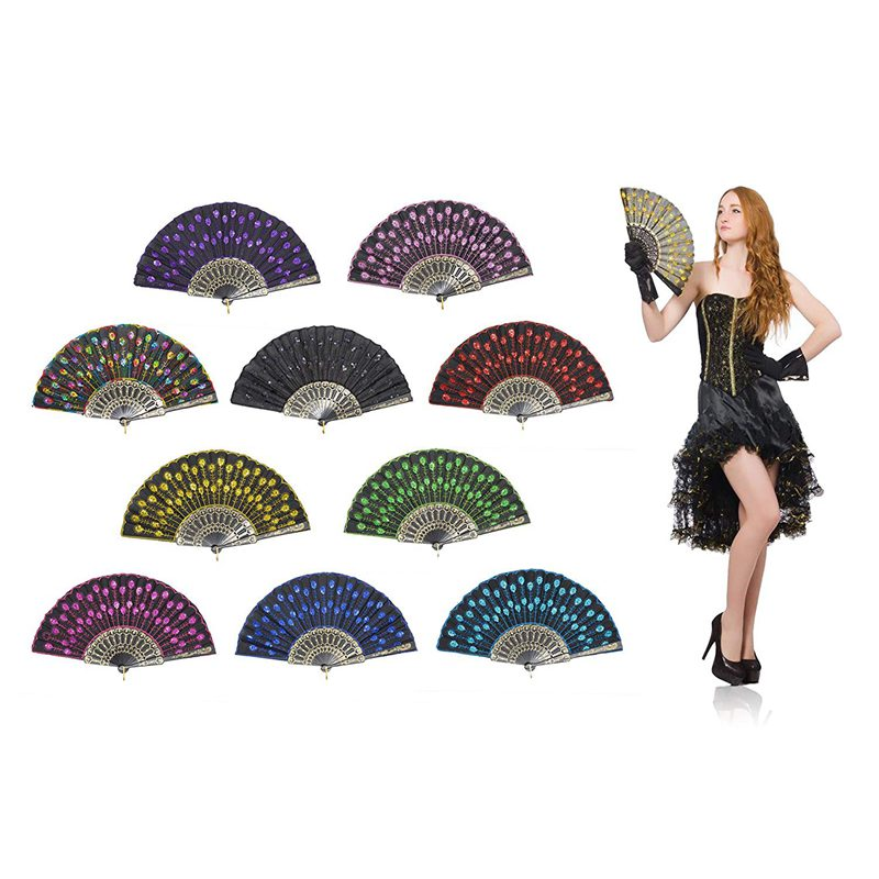 Peacock Folding Hand Held Fans Bulk For Women - Spanish/Chinese/Japanese Vintage Retro Fabric Fans For Wedding,Church,Party,Gi