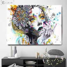 Flowers Girl Thinking Abstract Vintage Poster Prints Oil Painting On Canvas Wall Art Murals Pictures For Living Room Decoration