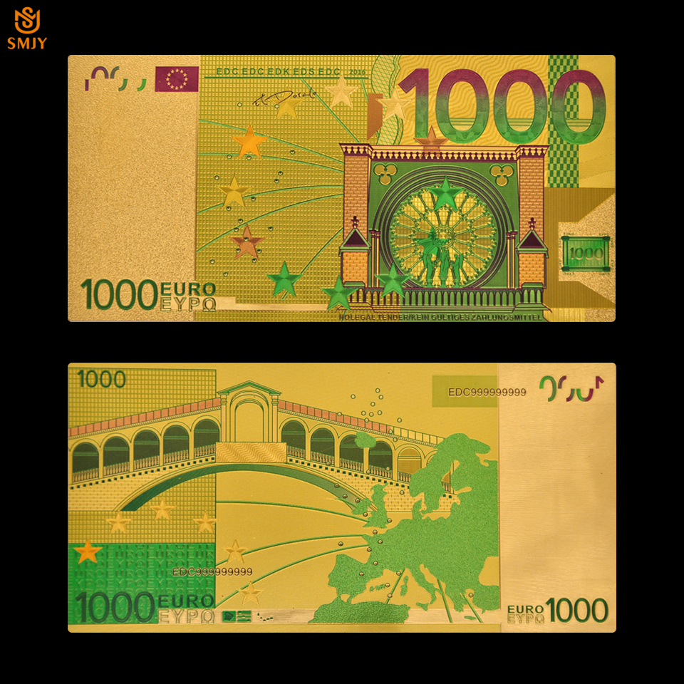 Color <font><b>Euro</b></font> Gold Foil Bill <font><b>1000</b></font> <font><b>Euro</b></font> Gold <font><b>Banknotes</b></font> <font><b>Euro</b></font> Paper Money Collection image