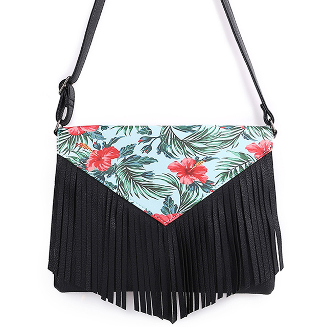 9069500b0632 US $9.85 38% OFF|Minimalist Crossbody Bags Fashion Small Women Shoulder Bag  Floral Envelope Style Tassel Women Messenger Bag Pu Leather Spring-in ...