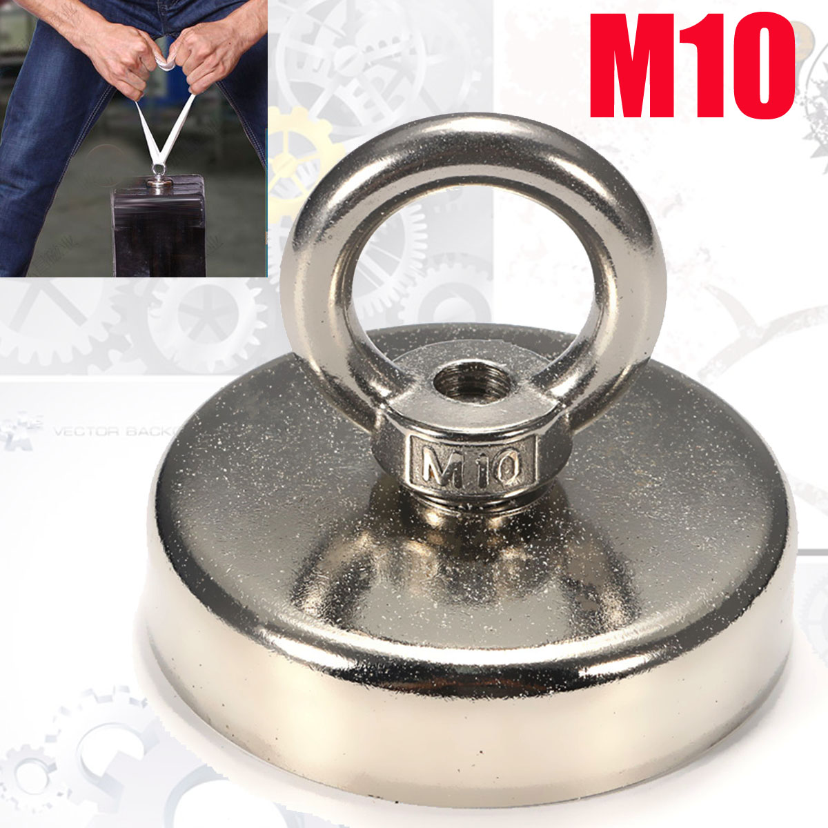 75mmx63mm 162kg Round Neodymium Fishing Magnet with Countersunk Hole and Eyebolt Recovery Magnet Metal Detector suleve 75x80mm neodymium recovery magnet metal detector eyebolt circular ring magnet 165kg