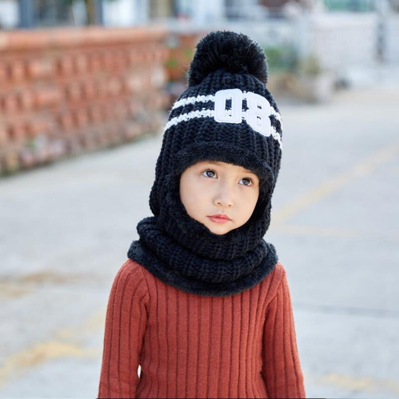 c472d0b7fc5d1 Winter Hats For Kids Pom Pom Hat Cap For Girls Boy Hat Balaclava Children  Knitted Beanie Thicken Fleece Line Winter Hat Wool For-in Skullies   Beanies  from ...