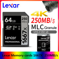 NEW Lexar Memory cards 1667X V60 250MBs Flash Memory sd cards 64 gb 128gb UHS II U3 micro sd card 256GB SDXC For 3D 4K HD video