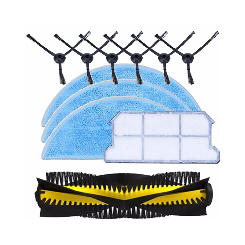 1x основной щетки + 6x боковая щетка + 3x тряпка для швабры + 1x hepa фильтр комплект для Chuwi iLife v7 робот пылесос части