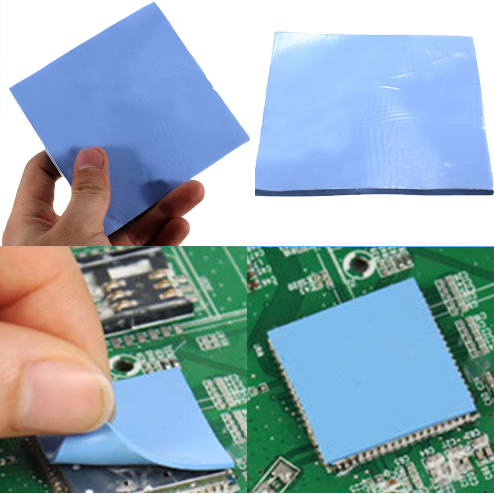 Thermal Silicone Pad 100mmx100mmx1mm GPU CPU Heatsink Cooler Blue Thermal Conductive Silicone Pad Drop Shipping