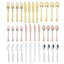12 шт. плоские золотые столовые приборы, западные десертные столовые приборы, ложка для мороженого с длинной ручкой, одноразовые столовые приборы