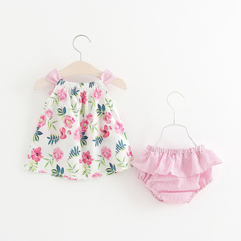 Dejo Baby Clothes Set Baby 2019 New Summer Clothes Fashion Cute Cherry Floral Print Kids Clothing Suit