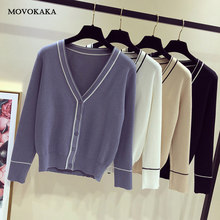 Baru Gaya Preppy Knit Sweater Cardigan Perempuan Korea Sweater Hangat Fashion Cardigan Stripe V Leher Lengan Panjang Lucu Sweater Wanita(China)