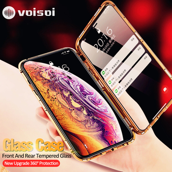 Double sided glass Magnetic case for iphone X 10 XS Max XR Luxury metal 360 degree Full protection cover for iphone X Xs Max Xr iphone xr case magnetic