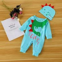2pcs Cotton Clothing Set Cute Cartoon Dinosaur Baby Rompers Hat Outfits D4