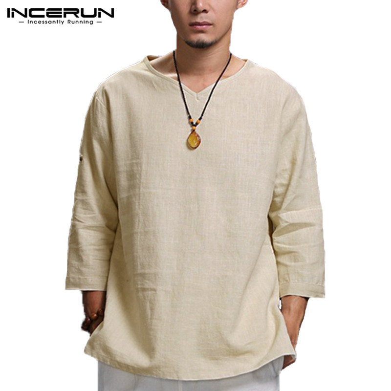INCERUN Chinese Style T Shirt Men 3/4 Sleeve V-neck Solid Fashion Men Tee Tops Casual Loose Cotton Linen Vintage Men T-shirt 5XL