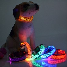 Adjustable LED Light Glow Pet Collar Leopard Nylon Pet Dog Cat Night Safety Luminous Flashing Necklace Glowing Neck Belt XWBE. adjustable 2 mode led flashing dog collar belt orange