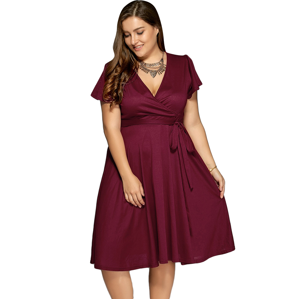 US $14.75 50% OFF|Wipalo Plus Size Summer Dress Low Cut A Line Surplice  Front Tie Swing Dress V Neck Short Sleeve Mid Calf Solid Dress 9XL  Vestido-in ...