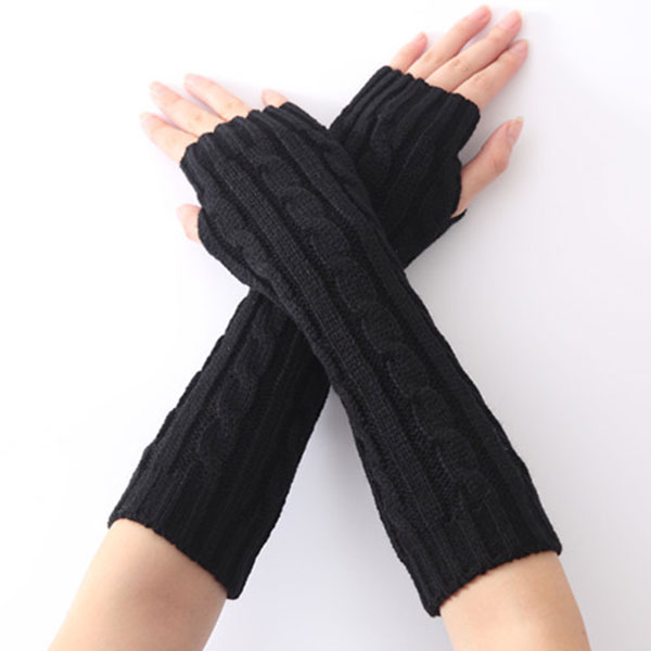 1pair Long Braid Cable Knit Fingerless Gloves Women Handmade Fashion Soft Gauntlet Practical Casual Gloves LXH