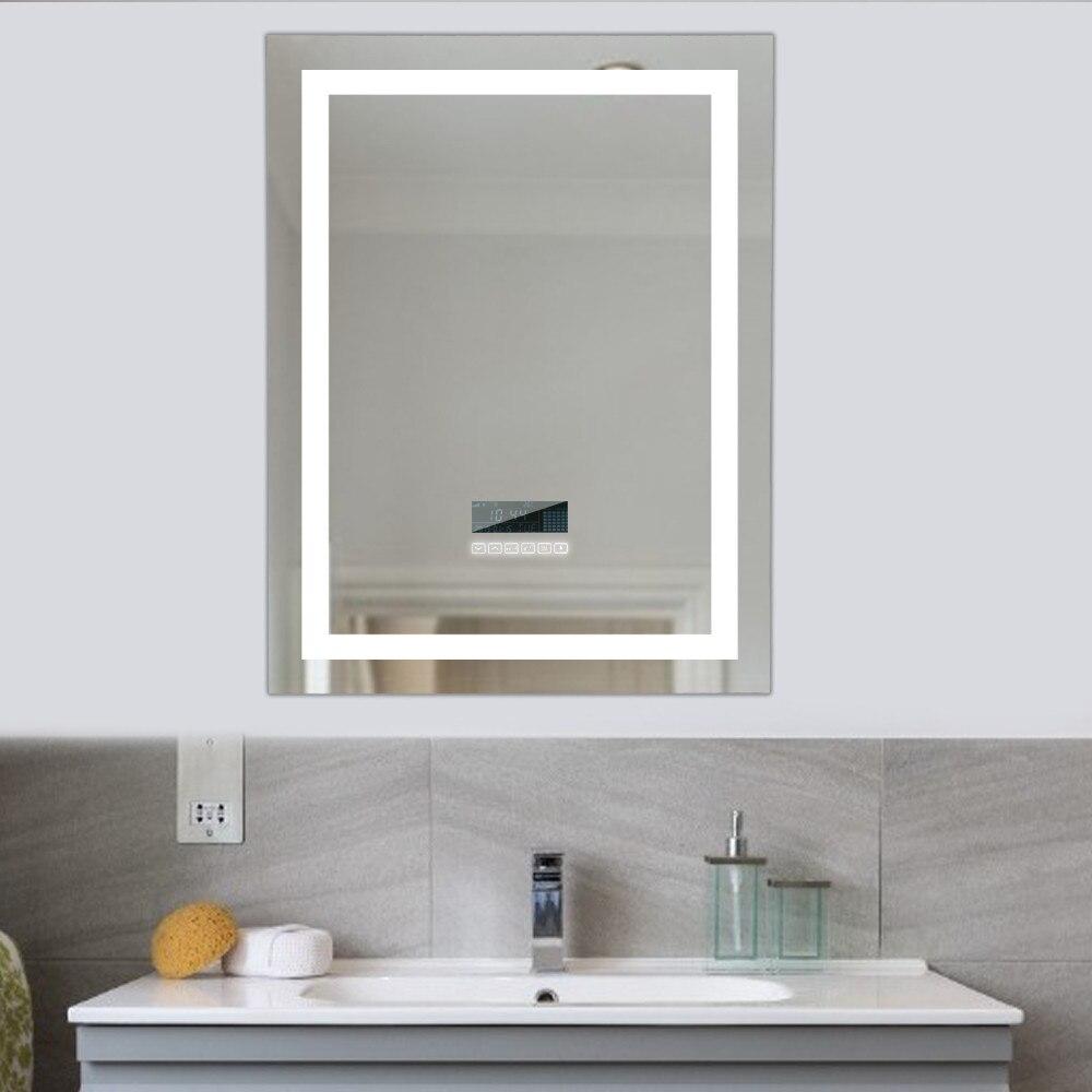 Newest Smart LED Bath Mirror HD Frameless Cosmetic Makeup Mirrror Intelligent Anti-fog Mirror Support Bluetooth Touch Screen HWC
