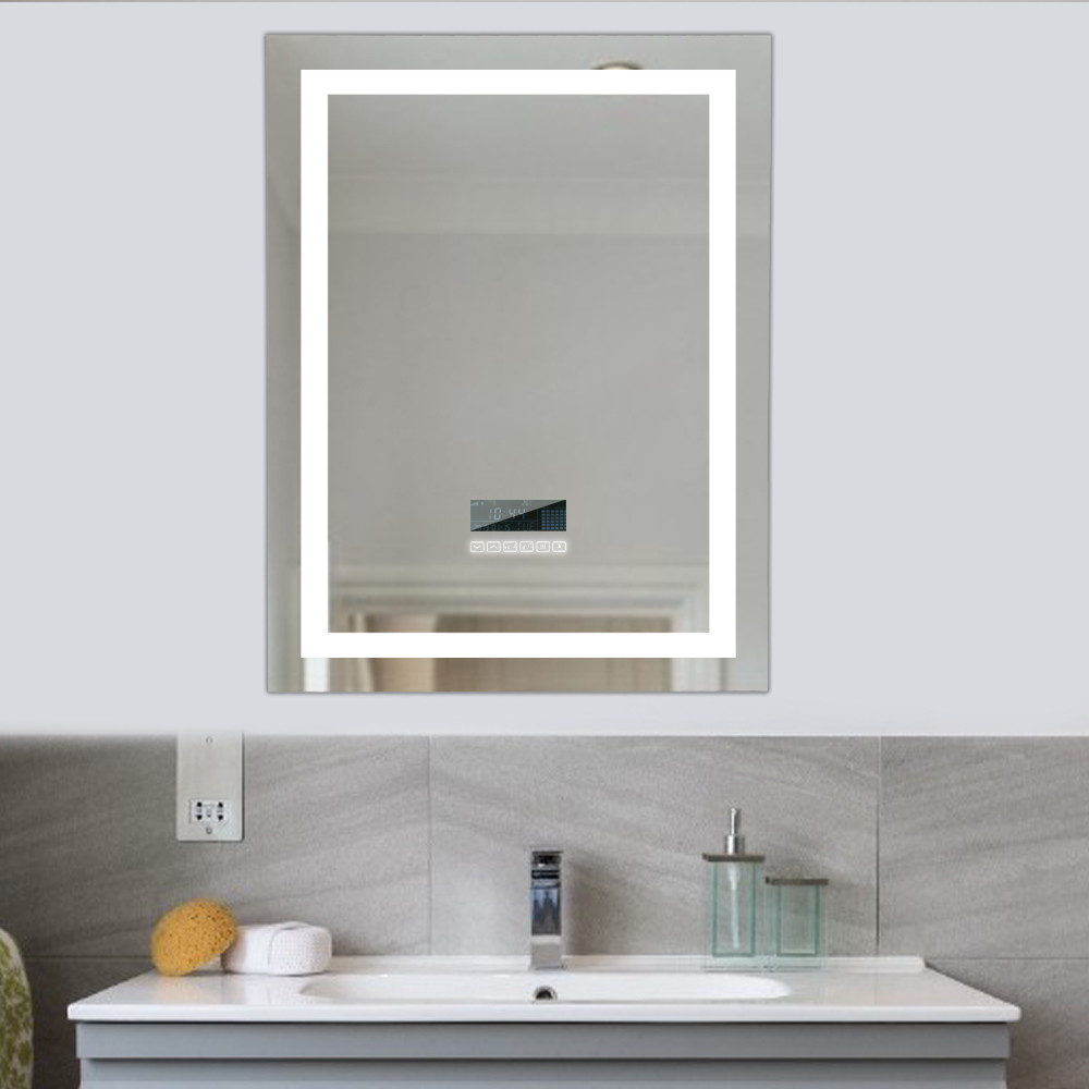 Nouveau miroir de bain LED Intelligent miroir de maquillage cosmétique sans cadre miroir Intelligent Anti-buée Support Bluetooth écran tactile HWC