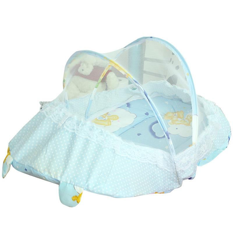 Baby Travel Bed Portable Folding Baby Crib With Mosquito Net And Pillow Newborn Summer Multi-functional Foldable Crib