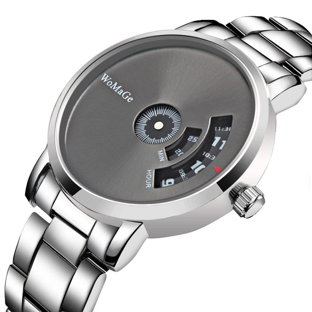 Quartz Watches Fanala Watch Men Fashion Stainless Steel Round Analog Quartz Wrist 37mm Watch Complete Schedule Bracelet Bangle 8mm