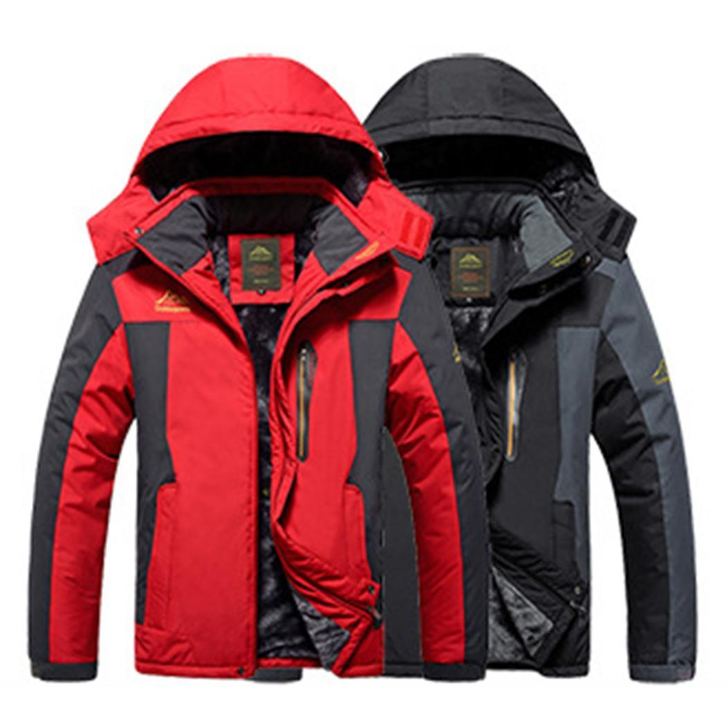 Windproof Thickened Warm Jacket Men Hooded Long Sleeve Waterproof Winter Coat