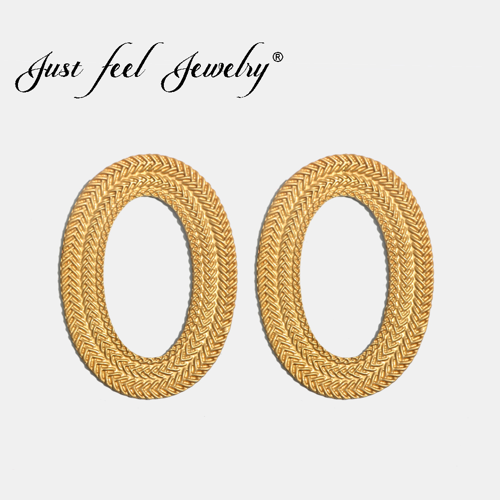 JUST FEEL Bohemian Round Circle Stud Earrings For Women Fashion Gold Color Geometric Punk Vintage Indian Luxury Earring Jewelry