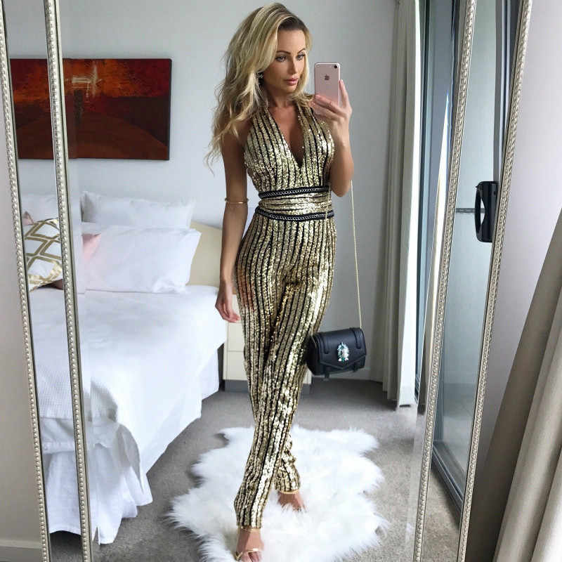 Try Everything Gold Sequin Jumpsuit Women Winter Party Rompers Womens  Jumpsuit Sexy Ladies Jumpsuits For Women 81ffc2bad591