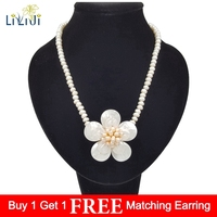 Lii Ji Unique Real Freshwater Pearl 6 7mm Shell Handmade Flowers Necklace Crystal Toggle Clasp 50cm Women Jewelry Gift