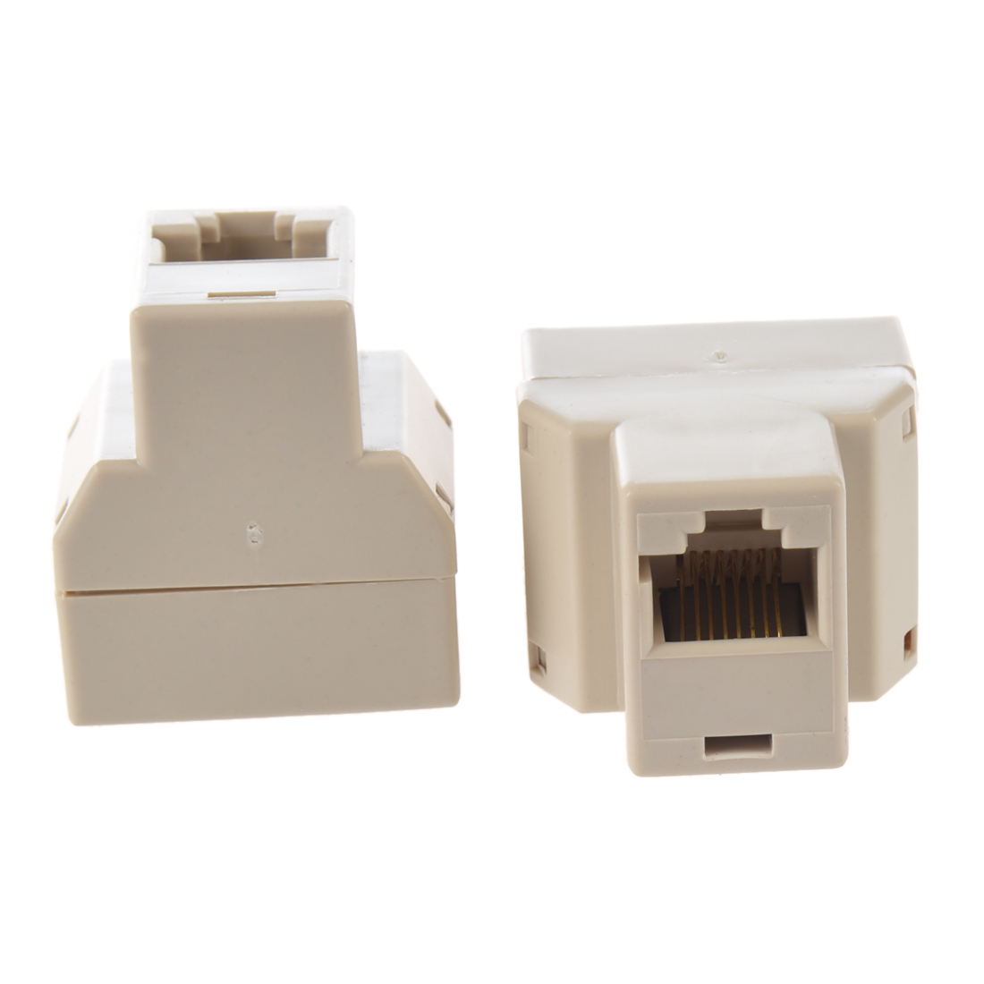 2 Pcs 3 Way RJ45 LAN Network Ethernet Splitter Connector Khaki
