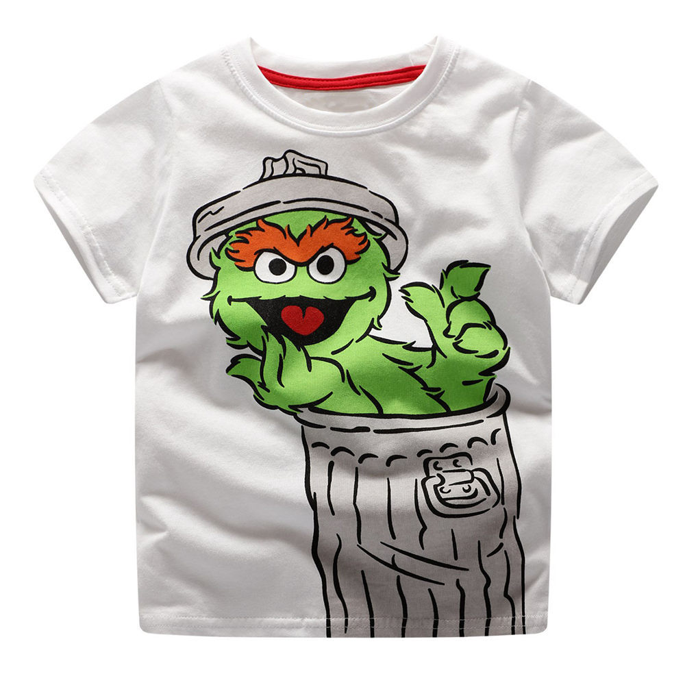 Littlemandy Boys Top Elmo In Trash Can Printed Shirt Baby Tees Summer Clothes 18 Kids Tshirts For Boys Clothing Children