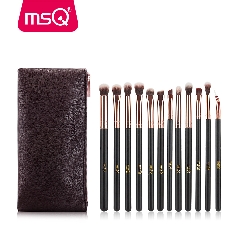 MSQ 12 pcs Eye Makeup Brushes Set Rose Gold Profesional Eyeshadow Blending Make Up Brushes Lembut Rambut Sintetis Dengan PU kas ...