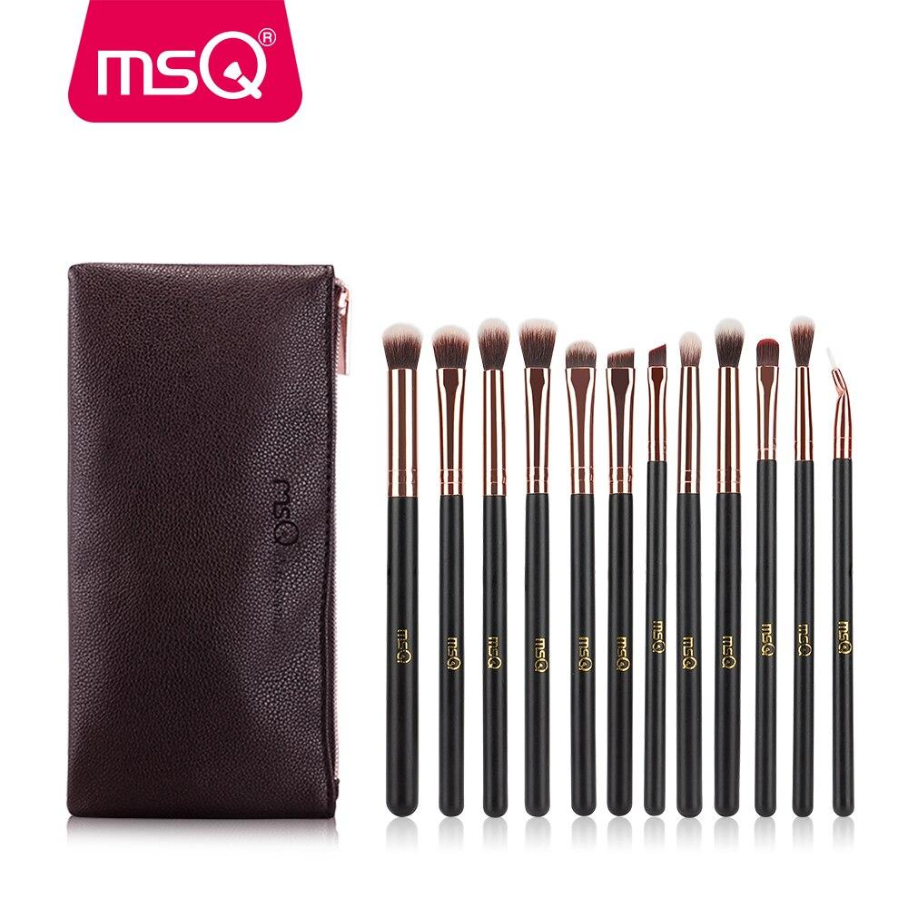 MSQ 12st Eye Makeup Børster Sæt Rose Gold Professional Øjenskygge Blending Make Up Børster Soft Synthetic Hair With PU Case