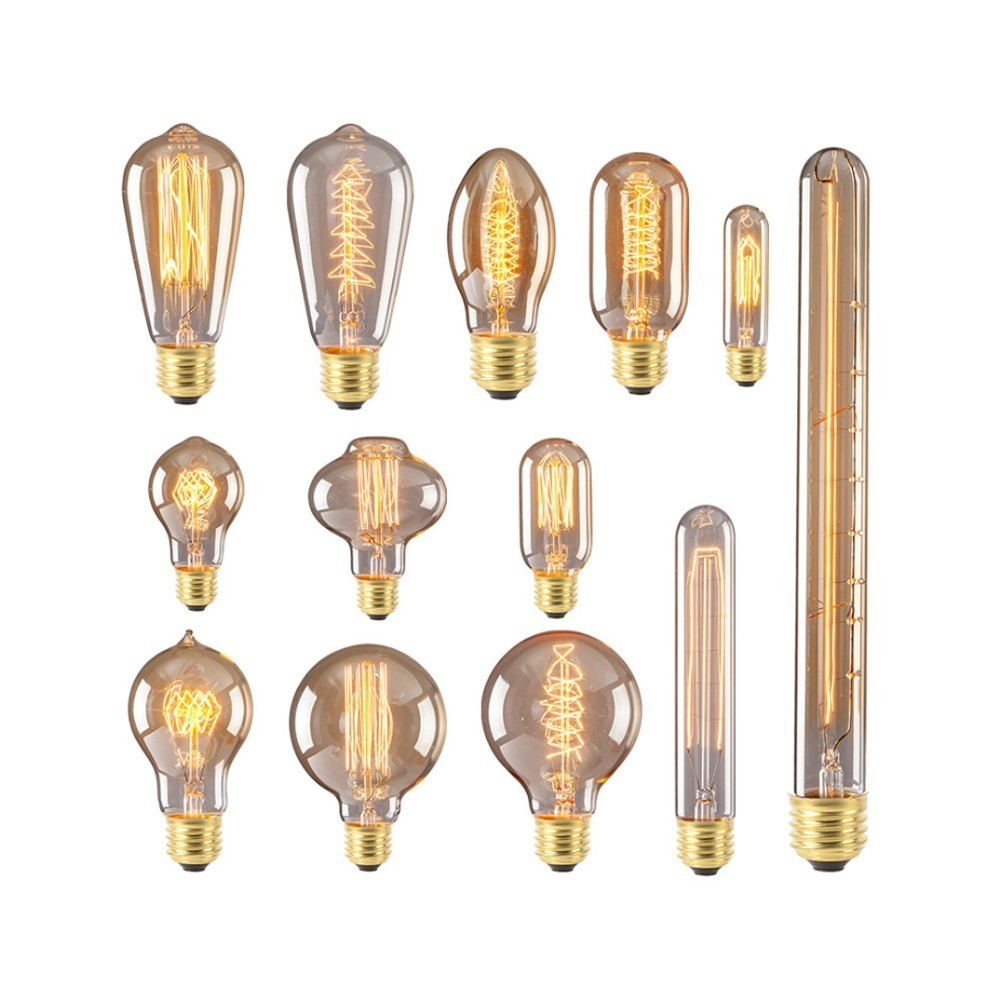 Vintage Edison Bulb E27 40W Retro Filament Tungsten Lamp Incandescent Light Christmas Decor Lighting Pendant Lamp