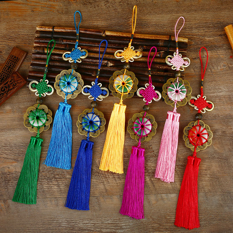 10 Pcs Imitation Copper Coin Chinese Knots Knotting Tassel Blessing Lucky Chinese Gifts Curtain Fringe Trim