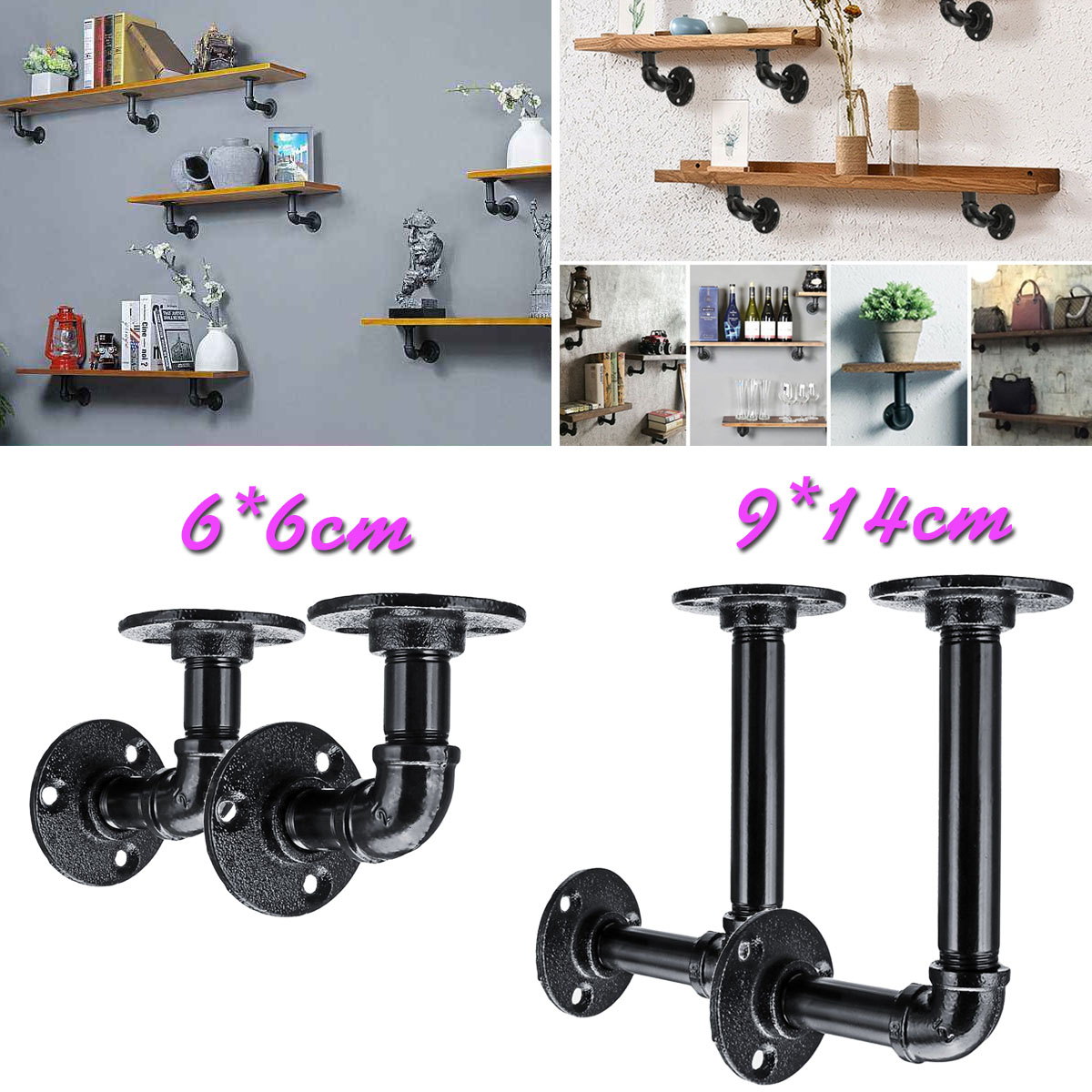 US $12 39 46% OFF|2Pcs Pipe L Bracket Wall Floating Shelf Vintage Retro  Black Iron Industrial Pipe Shelf Bracket Holder Home Decor Storage  Holder-in
