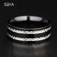 New Arrival 8mm Width Black Hi Tech Ceramic Engagement Rings High Polished Flat Top Inlay Silver for Woman Man Size 8 11