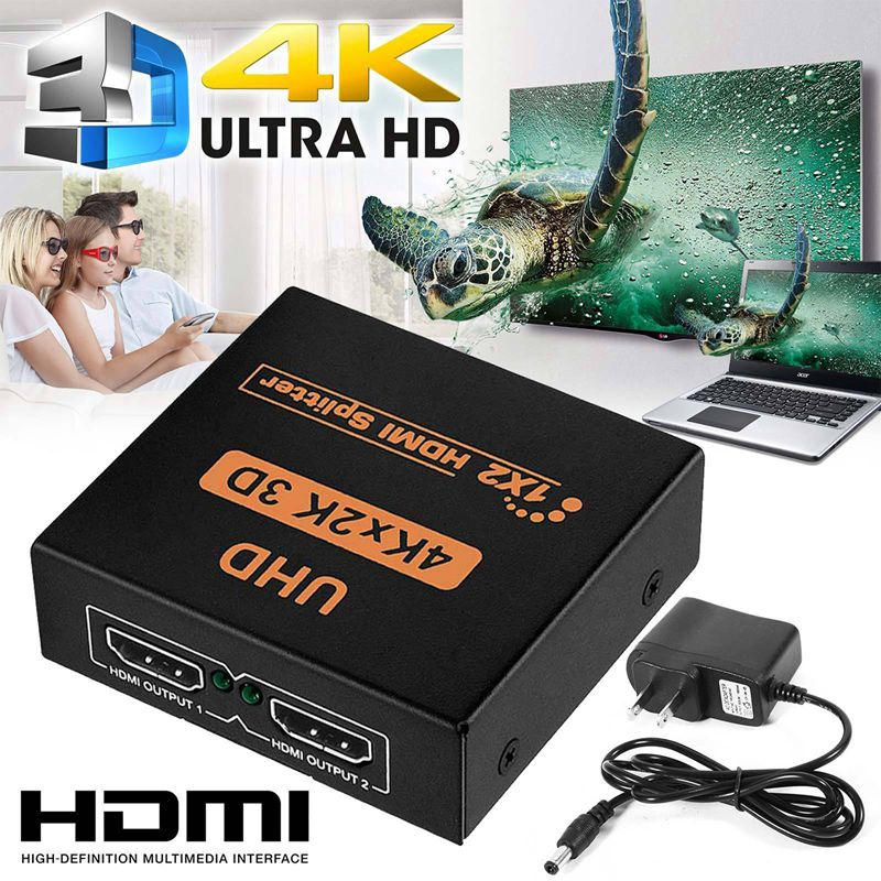Image 2 - NEW 1x2 HDMI Splitter v1.4b View 4K 3D 1080p One Input to Two Output Top US Plug-in HDMI Cables from Consumer Electronics