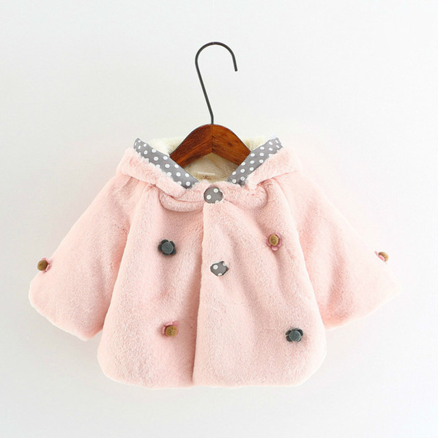 c6989103e Baby Fur Coat Flowers Long sleeved Solid Color Winter Clothes Infant ...