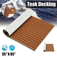 Self Adhesive 2400x900x5.5mm Marine Boat Synthetic Flooring EVA Foam Yacht Teak Decking Sheet Boat Accessories Dark Brown