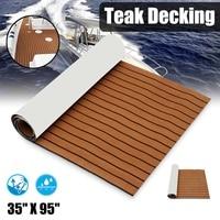 Self Adhesive 2400x900x5.5mm Marine Boat Synthetic Flooring EVA Foam Yacht Teak Decking Sheet Boat Accessories Dark Brown