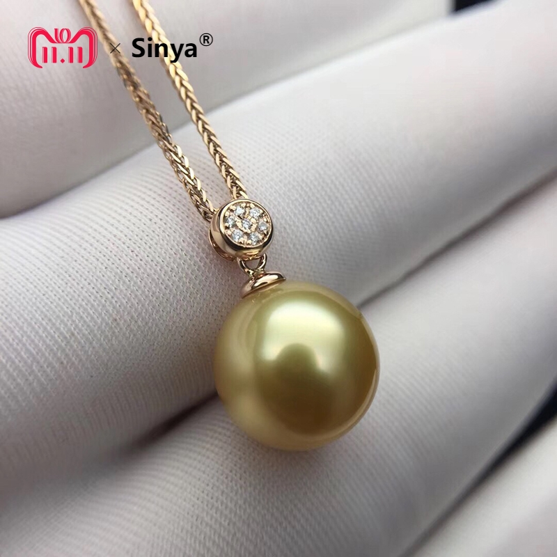 Sinya Real diamond southsea golden pearl pendant 18K Gold necklace choker include au750 gold chains For women Mum girls Gift sinya real diamond southsea golden pearl pendant 18k gold necklace choker include au750 gold chains for women mum girls gift