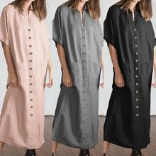 2019 Celmia Vintage Shirt Dresses Women Summer Dress Casual Short Sleeve Loose Buttons Split Long Maxi Vestidos Robe Plus Size