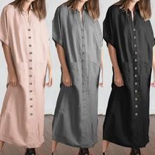 Shirt Dresses Buttons Plus-Size Robe Short-Sleeve Vestidos Vintage Casual Loose Summer