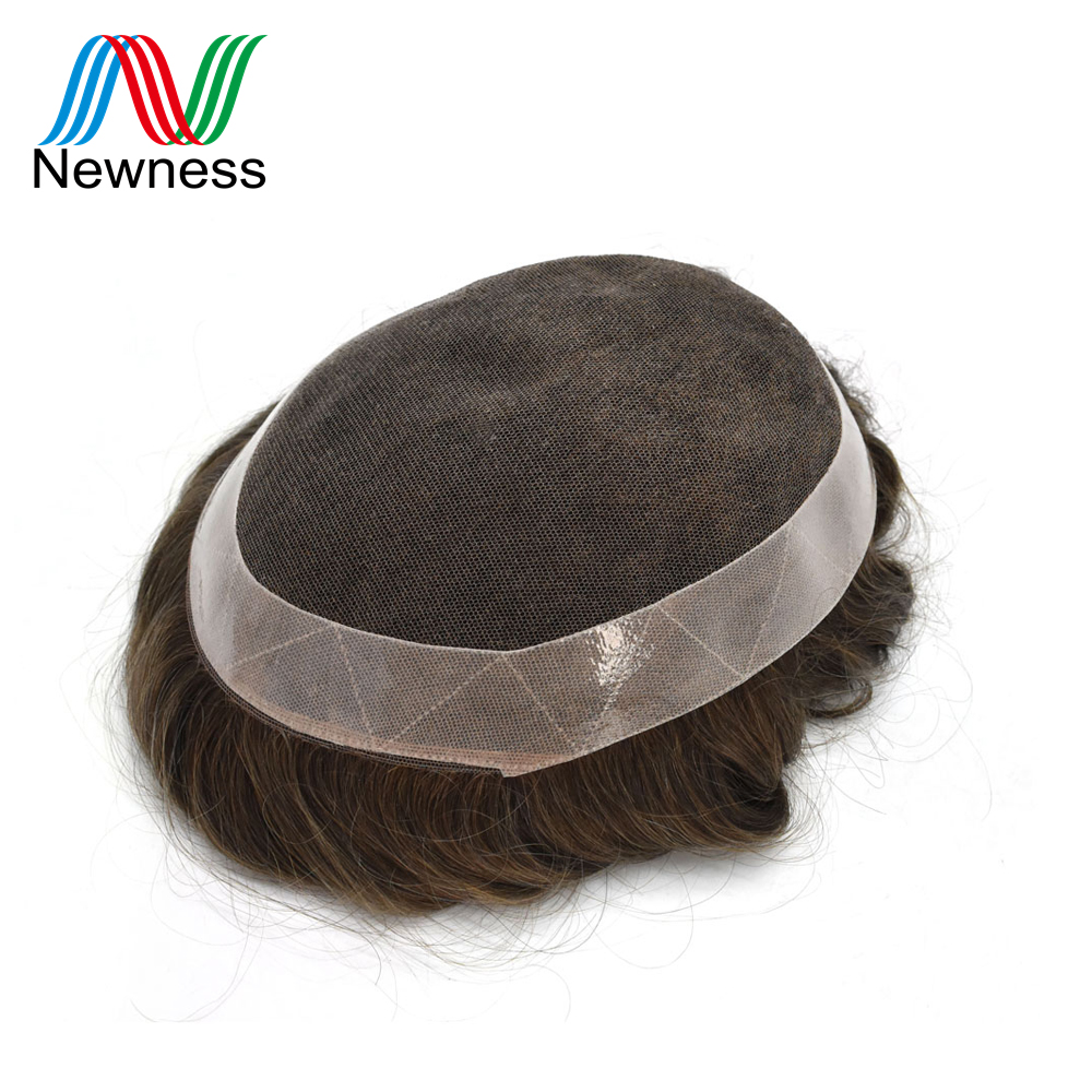 French Lace With Clear PU Men Toupee Hair System Natural Color Indian Human Hair Wig For