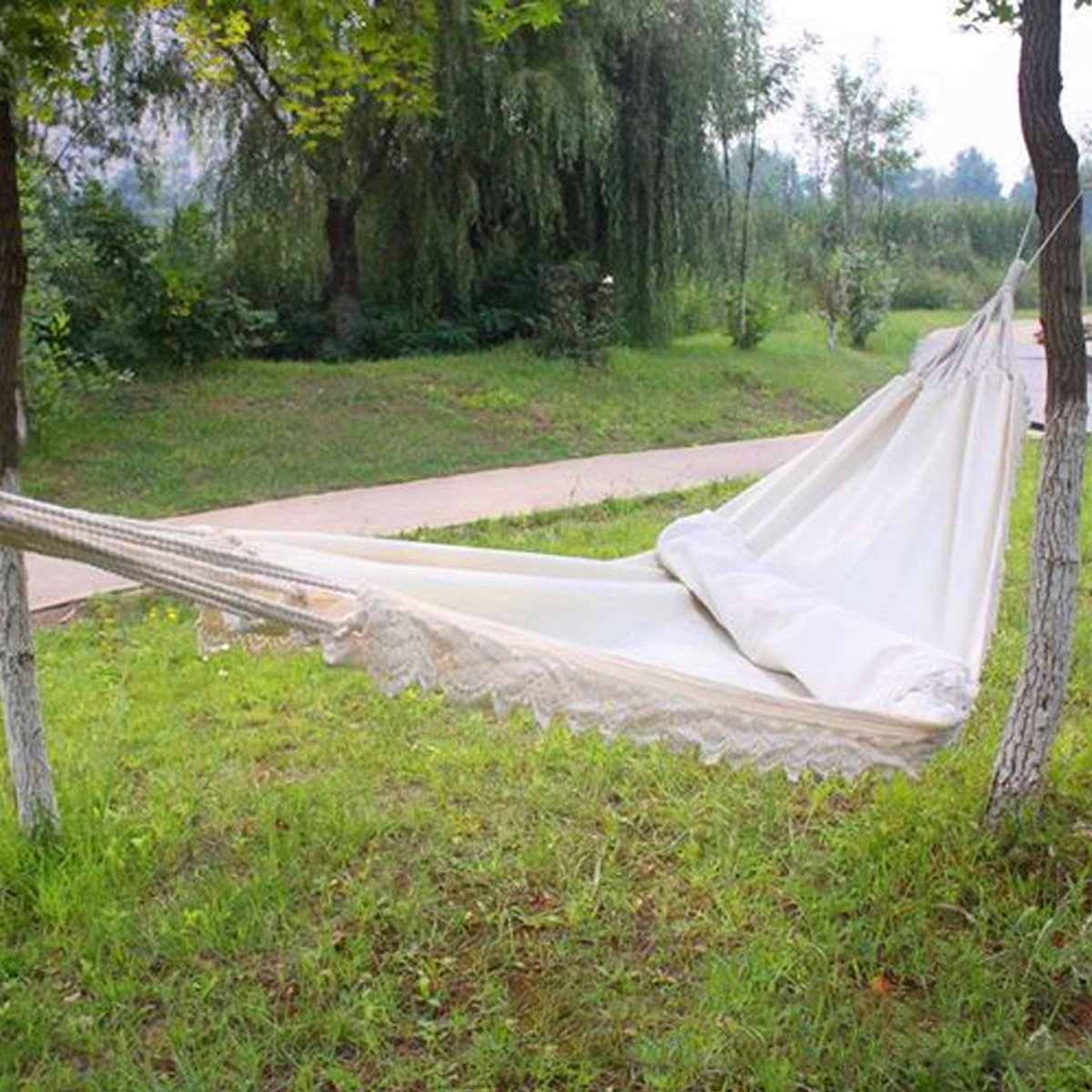 Image 4 - Outdoor Camping Hammock Swing Portable Hanging Chair Pure White Romantic Lace For Travel Hiking Garden Sleeping Swing Portable-in Hammocks from Furniture