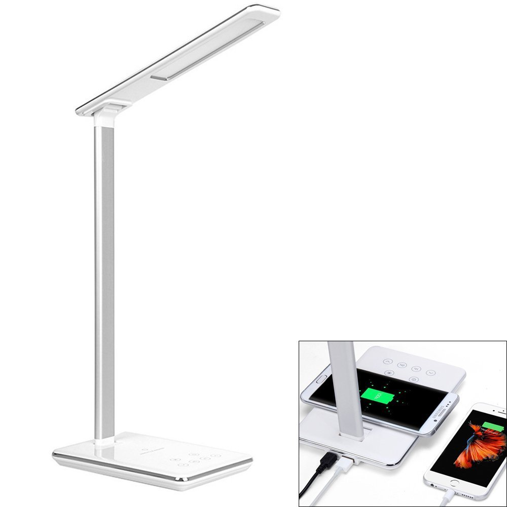 BIFI Wireless Charging LED Lamp,Table Lamps,Brightness Adjustable Office Lamp With USB Charging Port, For iphone X,Samsung,Pre
