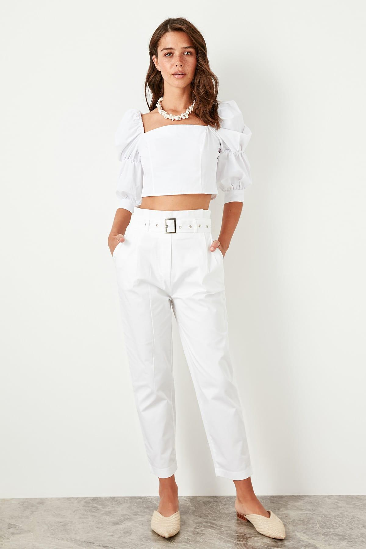Trendyol White High Waist Loose With Belt Detail Pants TWOSS19AP0184