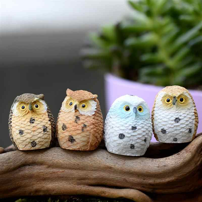 WINOMO 4/12pcs Miniature Bonsai Owls Landscape Resin Garden Desktop Doll Decoration Ornaments for Home Store