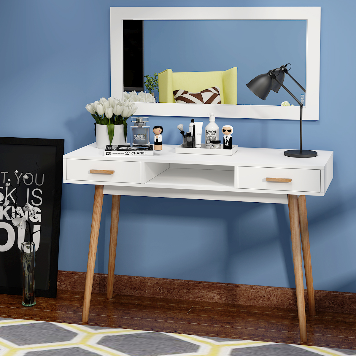 Panana Fashion Dressers Dressing Bedroom Vanity Makeup Table Furniture with Stool White + 2 storage drawersPanana Fashion Dressers Dressing Bedroom Vanity Makeup Table Furniture with Stool White + 2 storage drawers