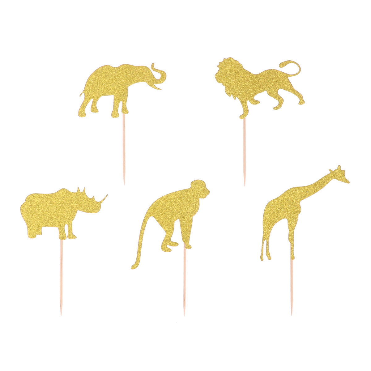 Image 2 - 10pcs Cake Topper Glitter Jungle Animals Golden Cupcake Toppers Dessert Topper Insert Card Fruit Topper For Birthday-in Cake Decorating Supplies from Home & Garden